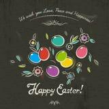 Ręka malował Wielkanocną kartę z jajkami i kwiatami na brown backgro Zdjęcie Stock
