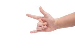 Ręka pokazuje rock and roll znaka Zdjęcie Stock