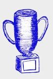 Ręka remisu nakreślenie trofeum, odizolowywający na bielu Zdjęcie Royalty Free