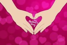 Ręka robi kierowemu kształtowi Szczęśliwemu Mothers dniu typographical Zdjęcie Stock