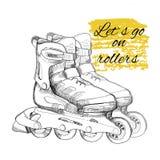 Ręka rysująca rolkowa łyżwa Graficzny przedmiot dla sporta Zdjęcie Stock