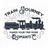 Ręka rysująca textured rocznik etykietka z kontrpara pociągu ilustracją Zdjęcia Royalty Free