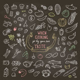 Ręka Rysujący jedzenie set, Kredowe ikony Wektorowa ilustracja, EPS10 Obraz Royalty Free