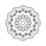 Ręka rysujący kwiatu mandala dla kolorystyki książki Czarny i biały eth Obrazy Stock