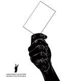 Ręka z wizytówką, szczegółowy czarny i biały wektorowy illustr Fotografia Stock