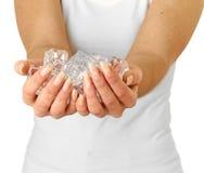 ręka zimny lód Fotografia Stock