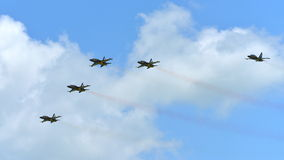 RKAF Black Eagles Aerobatic Team aerobatic performance at Singapore Airshow Stock Photography