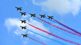 RKAF Black Eagles Aerobatic Team aerobatic performance at Singapore Airshow Stock Photos