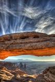 Ärke- soluppgång för Mesa, Canyonlands nationalpark Arkivfoton