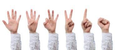 Ręki obliczenie zero, pięć Zdjęcia Royalty Free