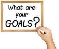 Ręki Writing celów pytania markier Whiteboard Obraz Stock