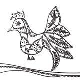 Ręki zentangle rysunkowy element Dekoracyjny, abstrakcjonistyczny ptak, Fotografia Royalty Free