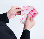 Räkna Yuan eller RMB, kinesisk valuta Royaltyfri Foto