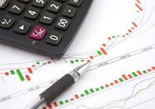 Räknemaskin och kulspetspenna på finansiellt diagram Arkivbild