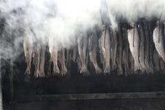 Rökt fisk i en metallspis, Tyskland Royaltyfria Bilder