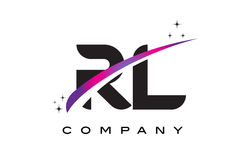 RL R L Black Letter Logo Design with Purple Magenta Swoosh Royalty Free Stock Photography