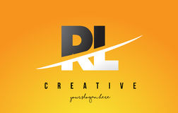 RL R L Letter Modern Logo Design with Yellow Background and Swoo. RL R L Letter Modern Logo Design with Swoosh Cutting the Middle Letters and Yellow Background Royalty Free Stock Images