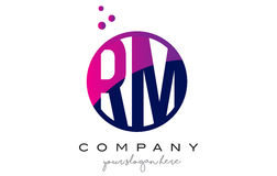 RM R M Circle Letter Logo Design avec Dots Bubbles pourpre Photos libres de droits