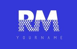 RM R M Dotted Letter Logo Design con el fondo azul Imagenes de archivo