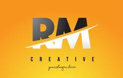 RM R M Letter Modern Logo Design avec le fond jaune et le Swoo illustration libre de droits