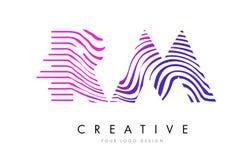 RM R M Zebra Lines Letter Logo Design avec des couleurs magenta Image stock