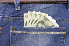 RMB banknote in pocket. Of jeans Stock Photography