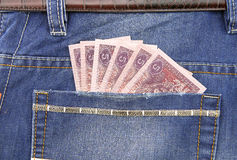 RMB banknote in pocket. Of jeans Stock Photo