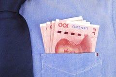 RMB banknoty w koszula kieszeni Fotografia Stock