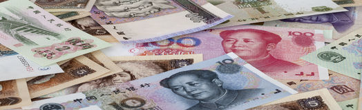 RMB. Bills of  RMB of different face value Stock Images