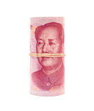 RMB binded with elastic on white Stock Photo