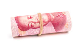 RMB binded with elastic on white Stock Images