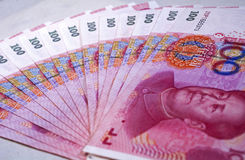 RMB 100. Chinese money rmb banknotes in round shape Stock Image