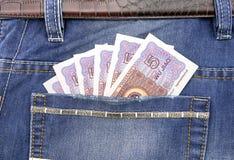 RMB in der Tasche Stockbild