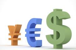 Rmb, Euro e dólar Imagem de Stock