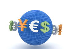 Rmb, euro och dollar Arkivfoton