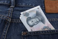 Rmb in a pocket. Chinese Money (10 RMB note) in a pocket Stock Photo