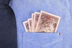 RMB in pocket of  shirt Royalty Free Stock Images