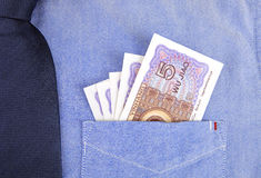 RMB in pocket of  shirt Stock Photography