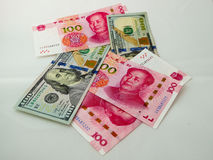 RMB- und US-Dollar Papiergeld Stockfotografie