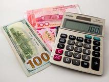 RMB- und US-Dollar Papiergeld Stockbild