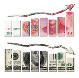 Rmb up and usd down graphics Stock Photo