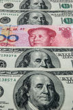 RMB and USD. RMB in mid of USD Stock Photography