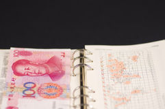 RMB100yuan and a notebook Stock Photography