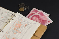 RMB100yuan and some coins and a notebook. With world map Royalty Free Stock Photo