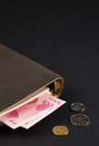 RMB100yuan and some coins and a notebook Royalty Free Stock Images