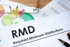 RMD required minimum distributions. Paper with words RMD required minimum distributions Royalty Free Stock Photos