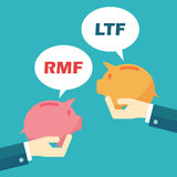 Rmf and ltf. Mutual funds concept Royalty Free Stock Image