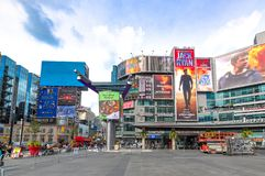 Toronto, Canada: Yonge Dundas Square, wide angle stock photography