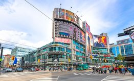 Toronto, Canada: Yonge Dundas Square, wide angle royalty free stock photography