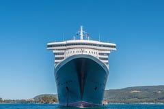 RMS Queen Mary 2 på ankaret, Port Arthur, Tasmanien Arkivfoton